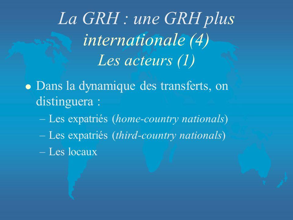 La GRH : une GRH plus internationale (4) Les acteurs (1) l Dans la dynamique des transferts, on distinguera : –Les expatriés (home-country nationals)
