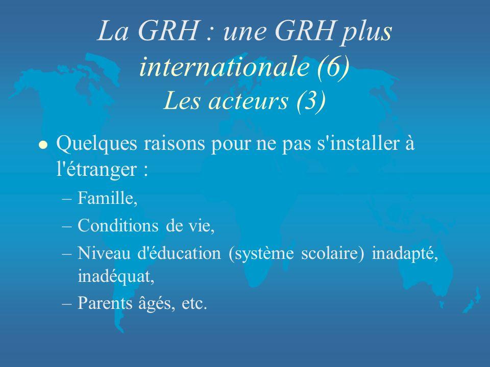 La GRH : une GRH plus internationale (6) Les acteurs (3) l Quelques raisons pour ne pas s'installer à l'étranger : –Famille, –Conditions de vie, –Nive