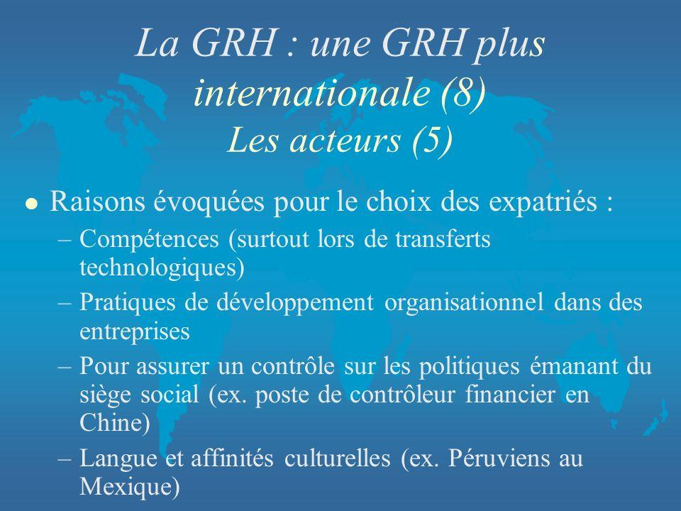 La GRH : une GRH plus internationale (8) Les acteurs (5) l Raisons évoquées pour le choix des expatriés : –Compétences (surtout lors de transferts tec