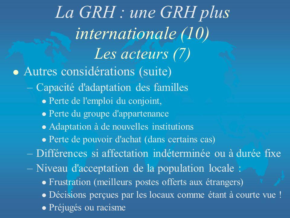 La GRH : une GRH plus internationale (10) Les acteurs (7) l Autres considérations (suite) –Capacité d'adaptation des familles l Perte de l'emploi du c