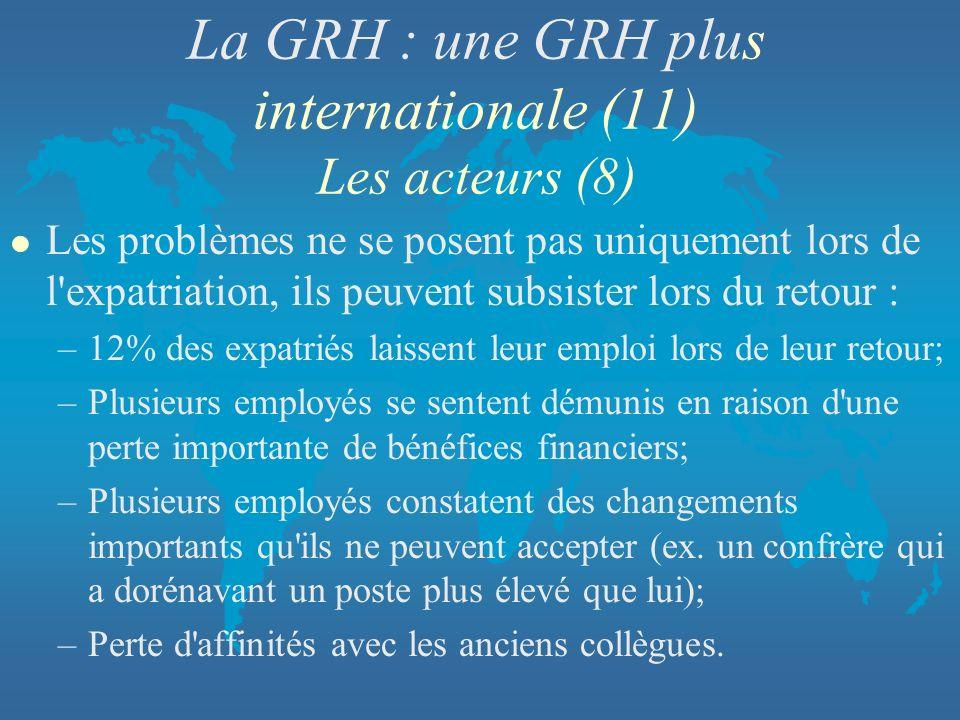 La GRH : une GRH plus internationale (11) Les acteurs (8) l Les problèmes ne se posent pas uniquement lors de l'expatriation, ils peuvent subsister lo