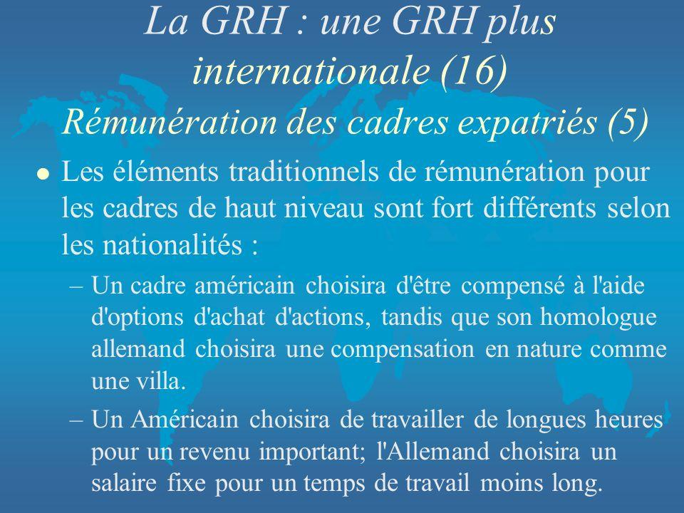 La GRH : une GRH plus internationale (16) Rémunération des cadres expatriés (5) l Les éléments traditionnels de rémunération pour les cadres de haut n