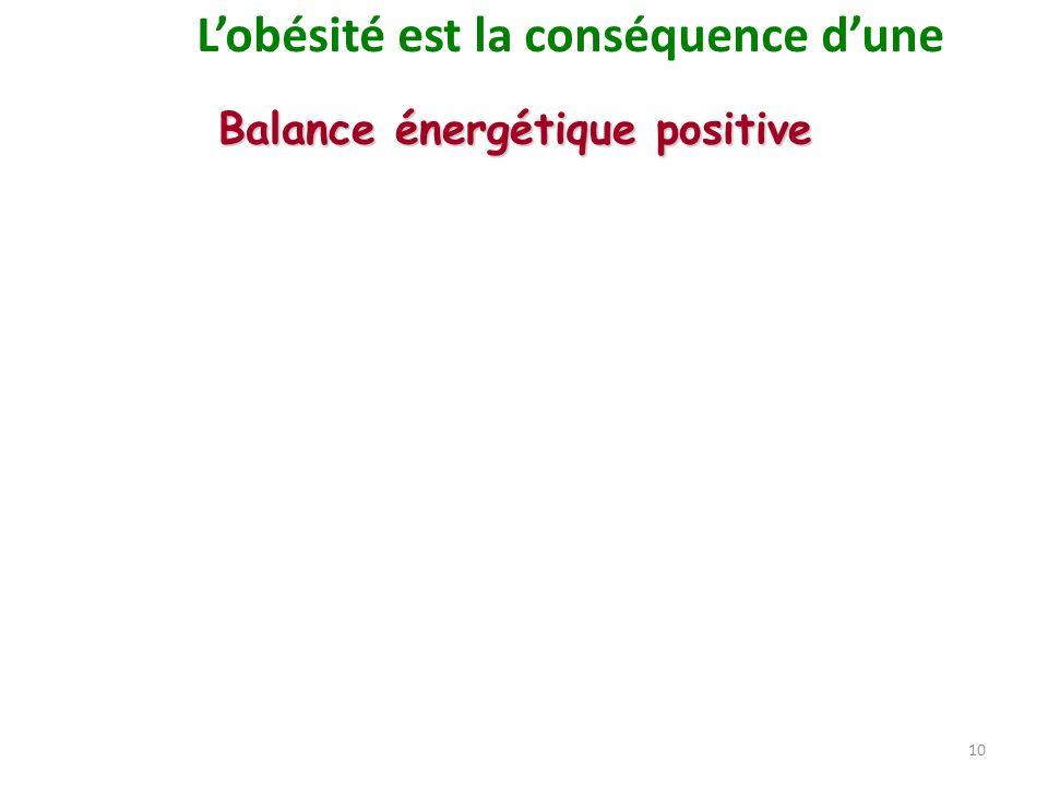 10 Balance énergétique positive Lobésité est la conséquence dune