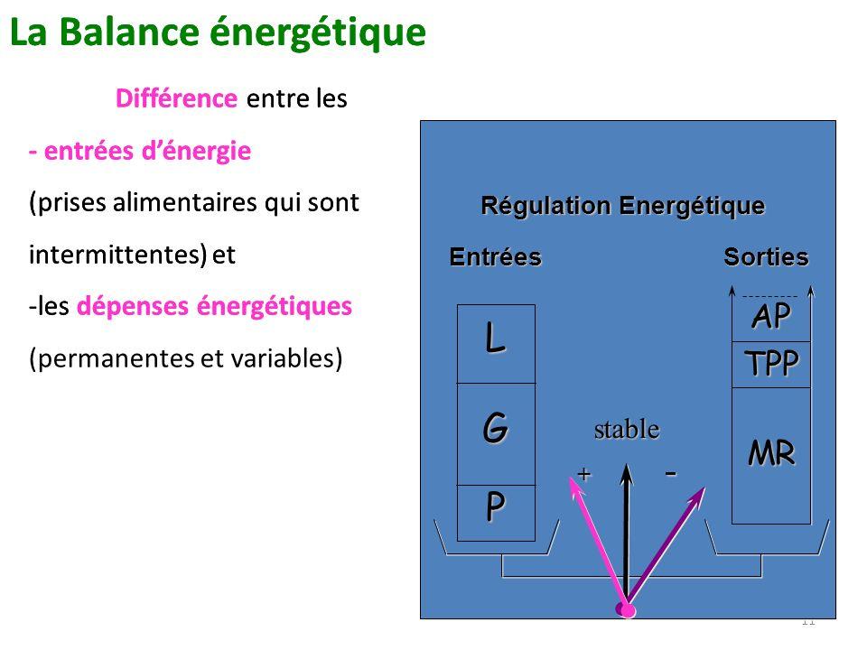 11 La Balance énergétique Différence entre les - entrées dénergie (prises alimentaires qui sont intermittentes) et -les dépenses énergétiques (permane
