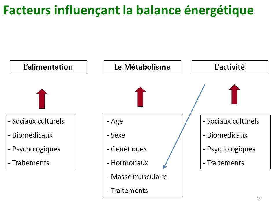14 Facteurs influençant la balance énergétique Le MétabolismeLalimentationLactivité - Sociaux culturels - Biomédicaux - Psychologiques - Traitements -