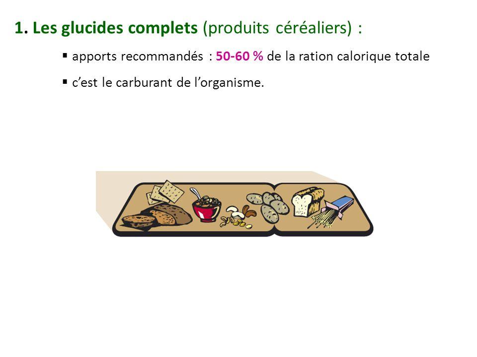 1. Les glucides complets (produits céréaliers) : apports recommandés : 50-60 % de la ration calorique totale cest le carburant de lorganisme.