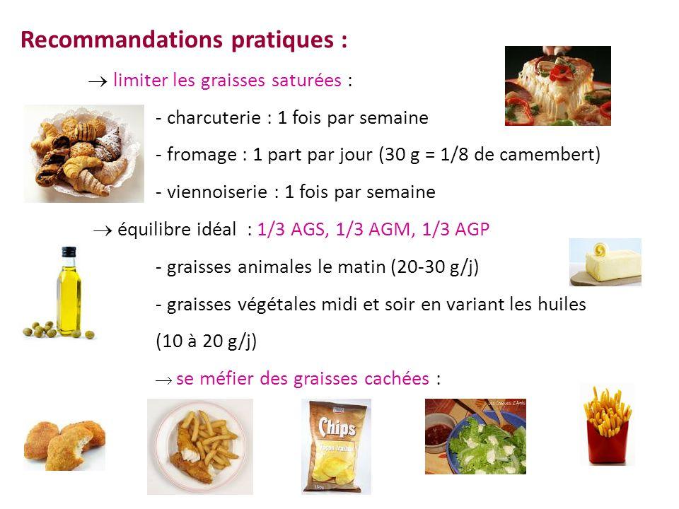 Recommandations pratiques : limiter les graisses saturées : - charcuterie : 1 fois par semaine - fromage : 1 part par jour (30 g = 1/8 de camembert) -