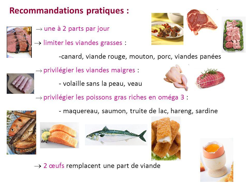 Recommandations pratiques : une à 2 parts par jour limiter les viandes grasses : -canard, viande rouge, mouton, porc, viandes panées privilégier les v