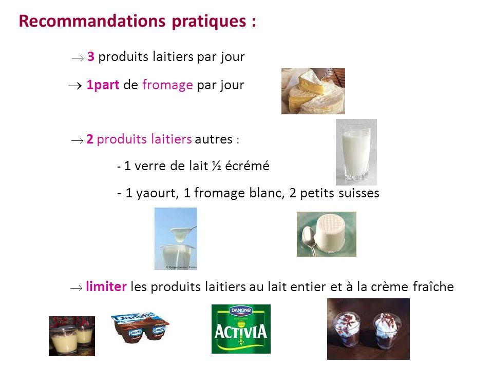Recommandations pratiques : 3 produits laitiers par jour 1part de fromage par jour 2 produits laitiers autres : - 1 verre de lait ½ écrémé - 1 yaourt,