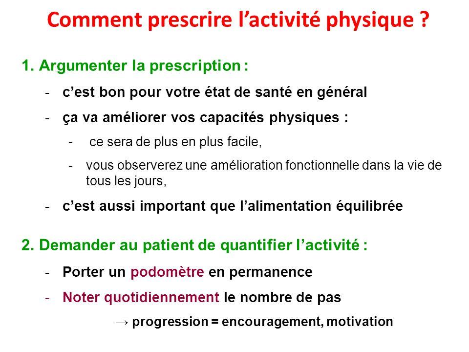 Comment prescrire lactivité physique ? 1.Argumenter la prescription : -cest bon pour votre état de santé en général -ça va améliorer vos capacités phy