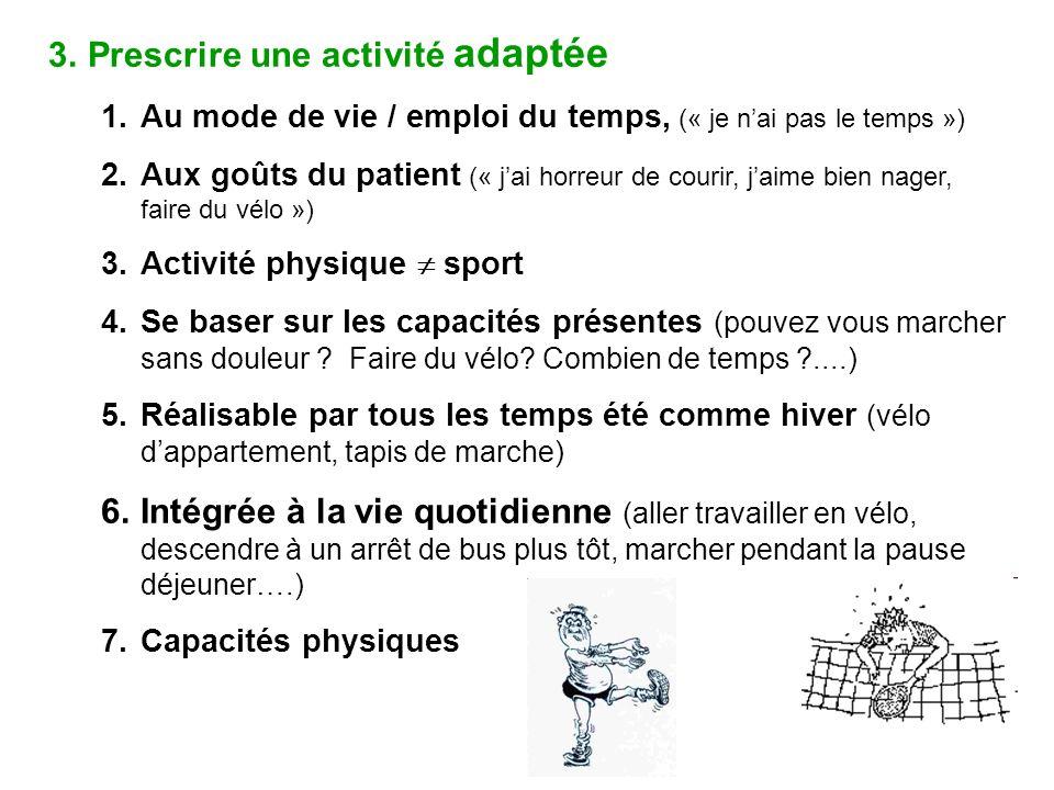 3.Prescrire une activité adaptée 1.Au mode de vie / emploi du temps, (« je nai pas le temps ») 2.Aux goûts du patient (« jai horreur de courir, jaime