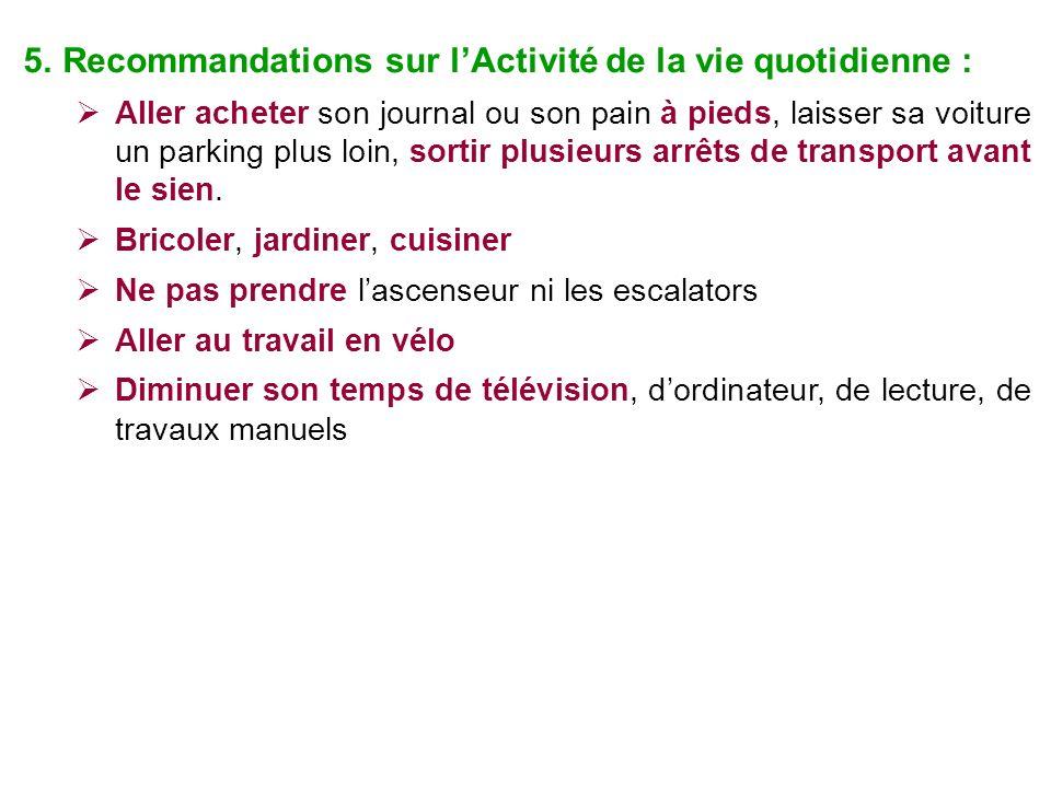 5.Recommandations sur lActivité de la vie quotidienne : Aller acheter son journal ou son pain à pieds, laisser sa voiture un parking plus loin, sortir