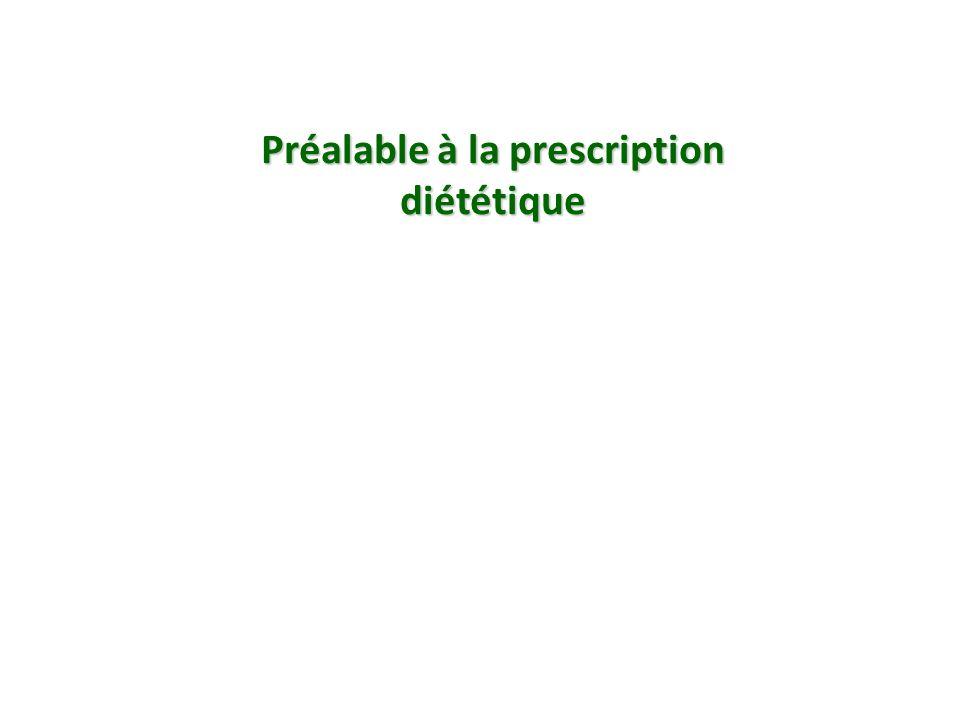 Préalable à la prescription diététique