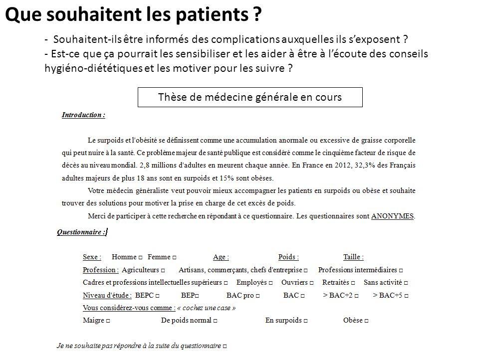 Que souhaitent les patients ? Thèse de médecine générale en cours - Souhaitent-ils être informés des complications auxquelles ils sexposent ? - Est-ce