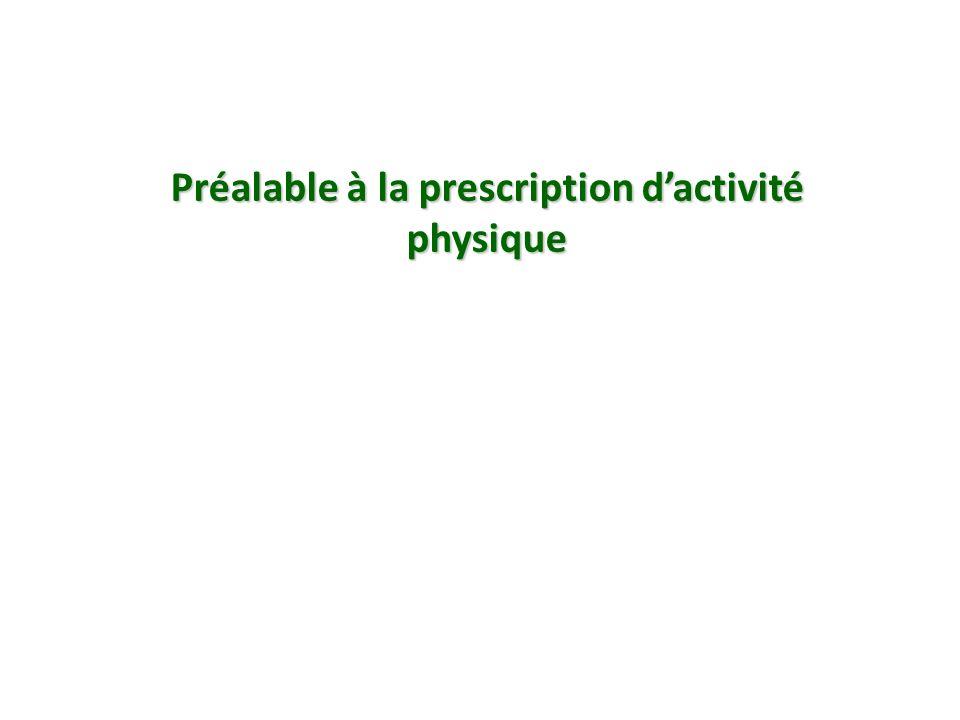 Préalable à la prescription dactivité physique