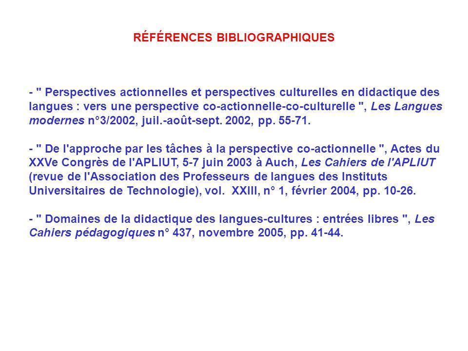 - Perspectives actionnelles et perspectives culturelles en didactique des langues : vers une perspective co-actionnelle-co-culturelle , Les Langues modernes n°3/2002, juil.-août-sept.