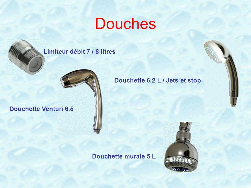 Douches Limiteur débit 7 / 8 litres Douchette Venturi 6.5 Douchette 6.2 L / Jets et stop Douchette murale 5 L