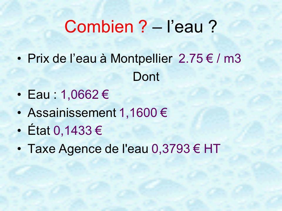 Combien ? – leau ? Prix de leau à Montpellier 2.75 / m3 Dont Eau : 1,0662 Assainissement 1,1600 État 0,1433 Taxe Agence de l'eau 0,3793 HT