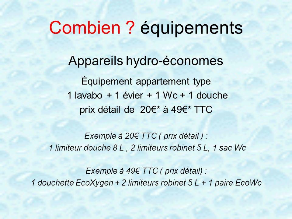 Combien ? équipements Appareils hydro-économes Équipement appartement type 1 lavabo + 1 évier + 1 Wc + 1 douche prix détail de 20* à 49* TTC Exemple à