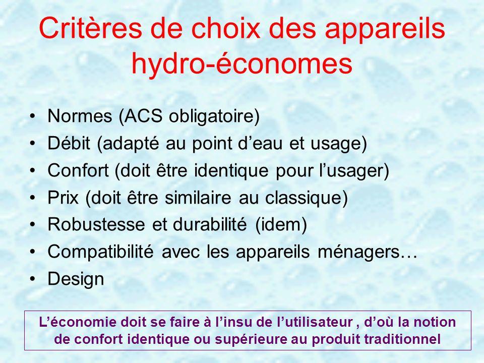 Critères de choix des appareils hydro-économes Normes (ACS obligatoire) Débit (adapté au point deau et usage) Confort (doit être identique pour lusage