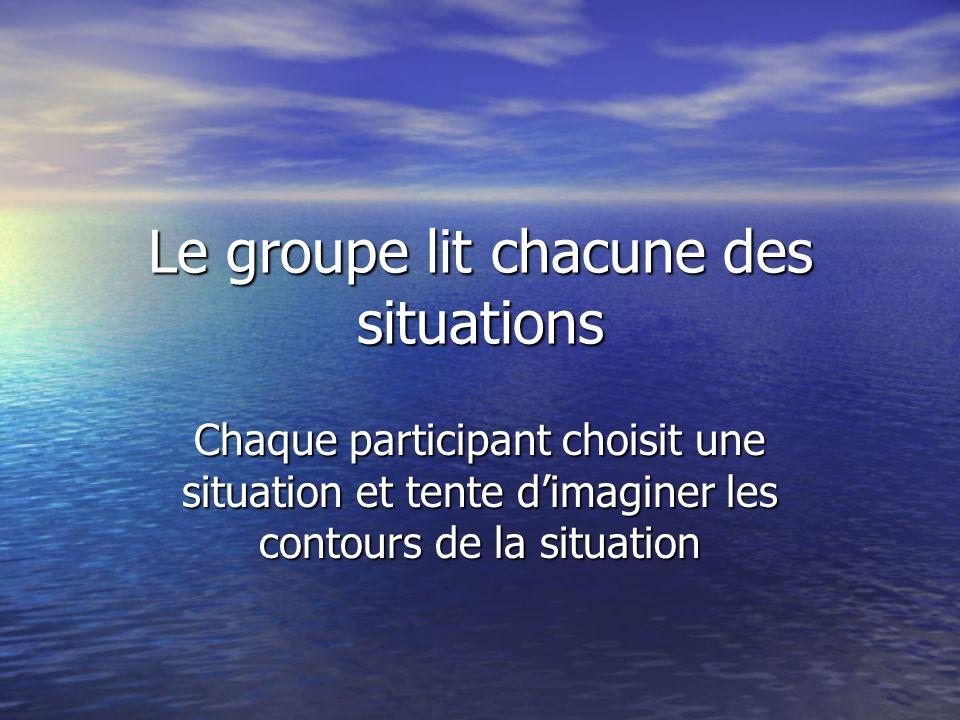 Le groupe lit chacune des situations Chaque participant choisit une situation et tente dimaginer les contours de la situation