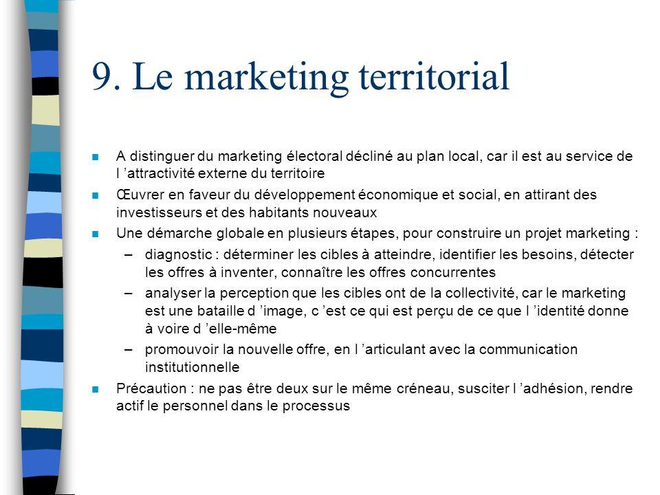 9. Le marketing territorial n A distinguer du marketing électoral décliné au plan local, car il est au service de l attractivité externe du territoire