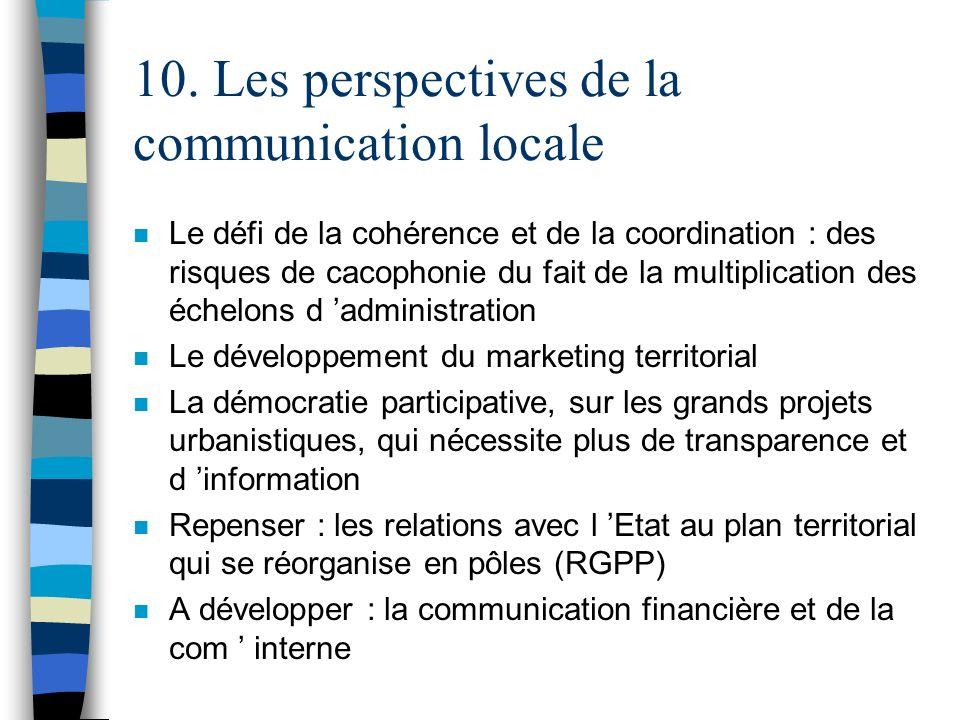10. Les perspectives de la communication locale n Le défi de la cohérence et de la coordination : des risques de cacophonie du fait de la multiplicati