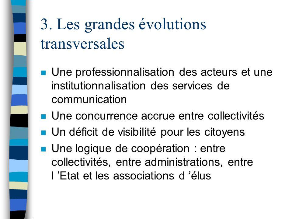 3. Les grandes évolutions transversales n Une professionnalisation des acteurs et une institutionnalisation des services de communication n Une concur