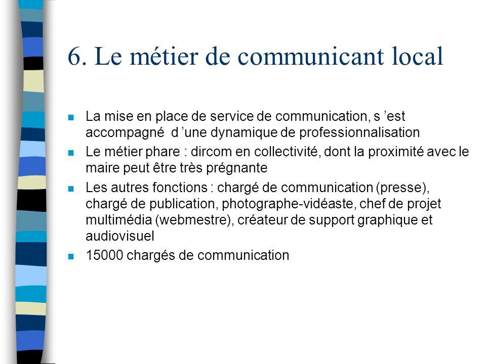 6. Le métier de communicant local n La mise en place de service de communication, s est accompagné d une dynamique de professionnalisation n Le métier