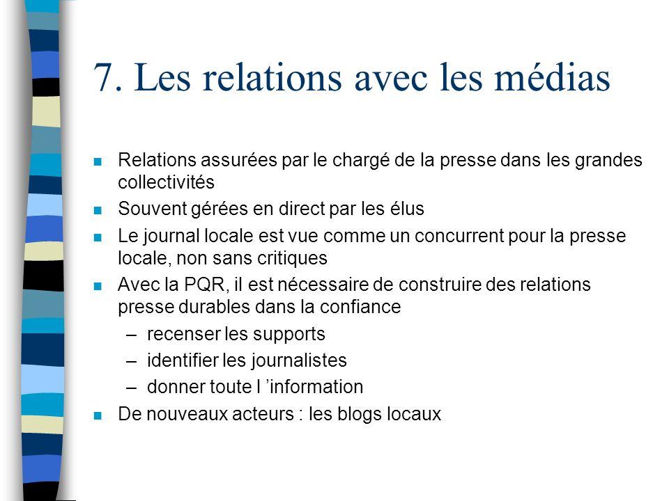 7. Les relations avec les médias n Relations assurées par le chargé de la presse dans les grandes collectivités n Souvent gérées en direct par les élu