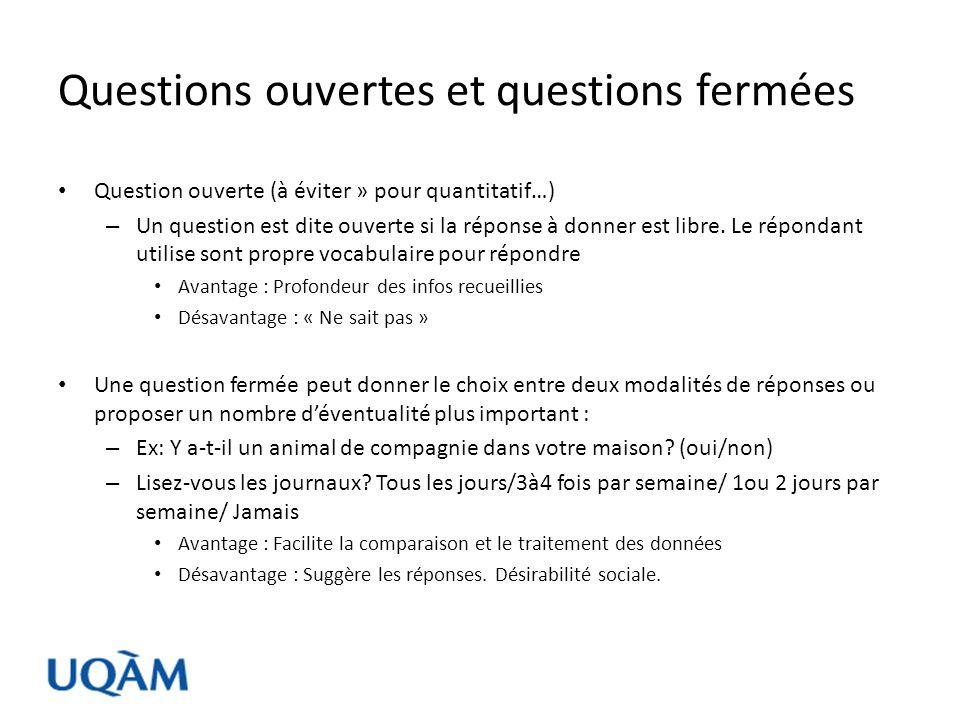 Questions ouvertes et questions fermées – Attention.