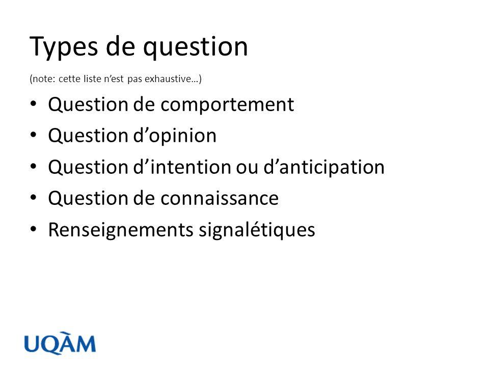 Questions de comportements Définition : Ces questions décrivent les pratiques des répondants.