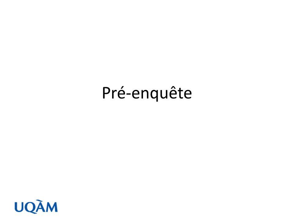 De préférence, le questionnaire doit être validé par le biais dune pré enquête Le contenu doit être cohérent, harmonieux et adapté au niveau des répondants Plusieurs facteurs influencent la qualité des questions, et conséquemment la qualité des résultats obtenus