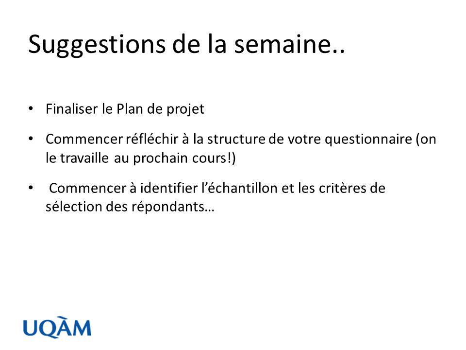 Suggestions de la semaine.. Finaliser le Plan de projet Commencer réfléchir à la structure de votre questionnaire (on le travaille au prochain cours!)