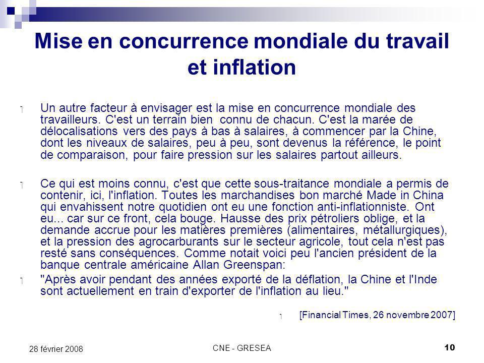 CNE - GRESEA10 28 février 2008 Mise en concurrence mondiale du travail et inflation Un autre facteur à envisager est la mise en concurrence mondiale des travailleurs.