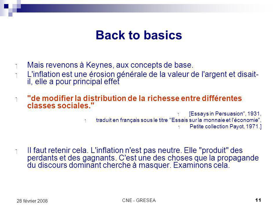 CNE - GRESEA11 28 février 2008 Back to basics Mais revenons à Keynes, aux concepts de base.