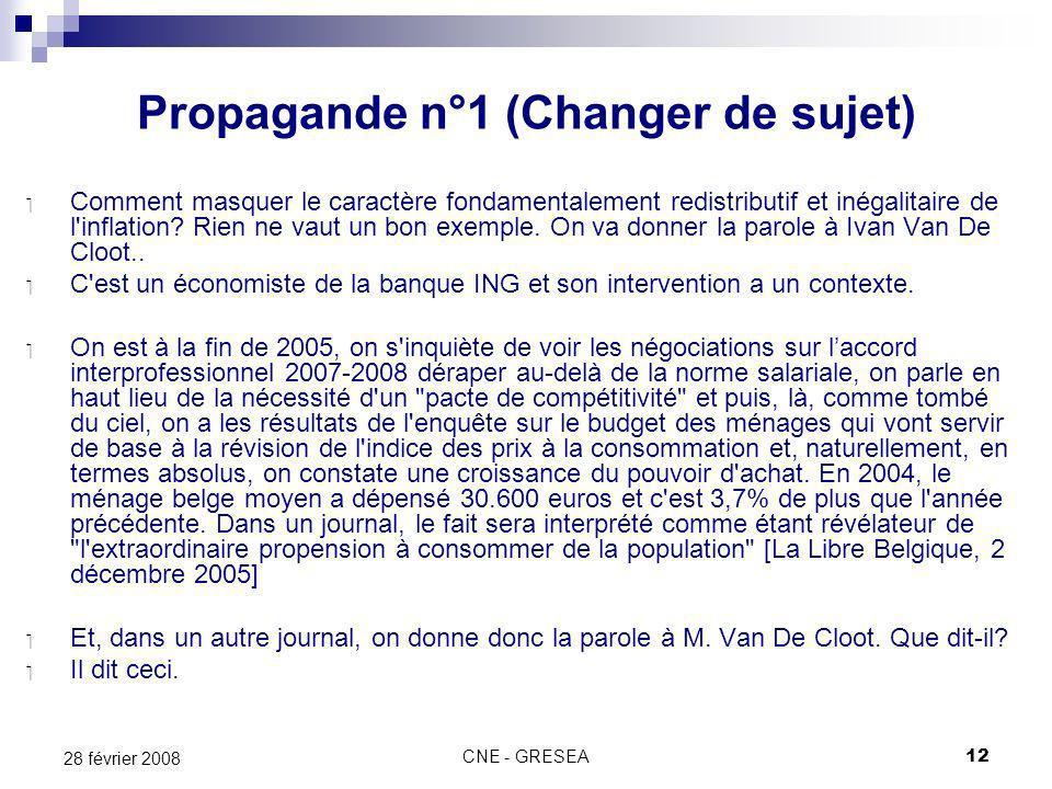 CNE - GRESEA12 28 février 2008 Propagande n°1 (Changer de sujet) Comment masquer le caractère fondamentalement redistributif et inégalitaire de l inflation.