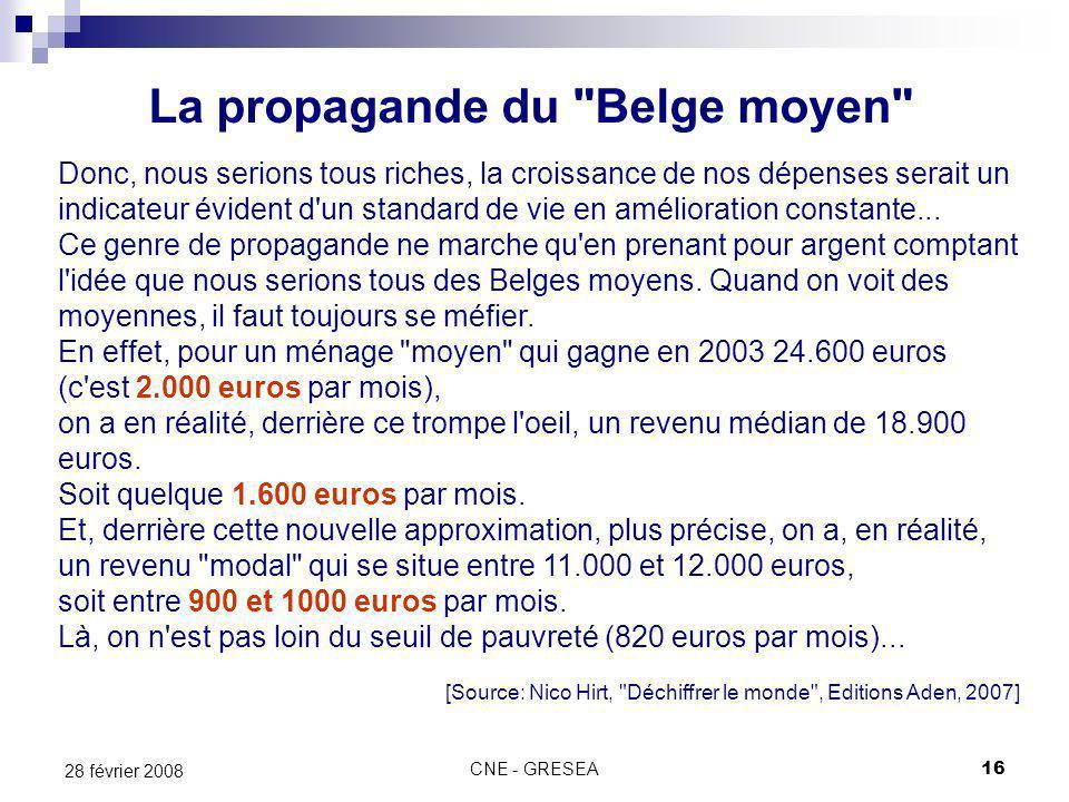 CNE - GRESEA16 28 février 2008 La propagande du Belge moyen Donc, nous serions tous riches, la croissance de nos dépenses serait un indicateur évident d un standard de vie en amélioration constante...