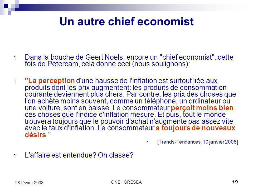 CNE - GRESEA19 28 février 2008 Dans la bouche de Geert Noels, encore un chief economist , cette fois de Petercam, cela donne ceci (nous soulignons): La perception d une hausse de l inflation est surtout liée aux produits dont les prix augmentent: les produits de consommation courante deviennent plus chers.