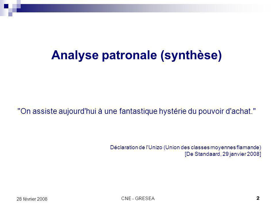 2 28 février 2008 Analyse patronale (synthèse)