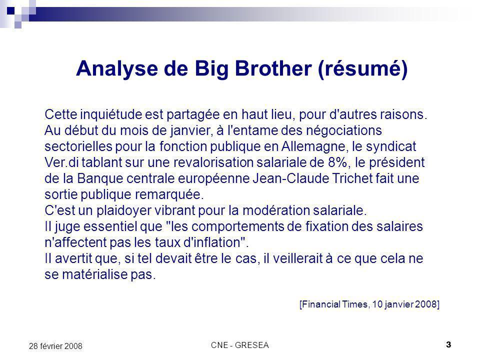 CNE - GRESEA3 28 février 2008 Analyse de Big Brother (résumé) Cette inquiétude est partagée en haut lieu, pour d autres raisons.