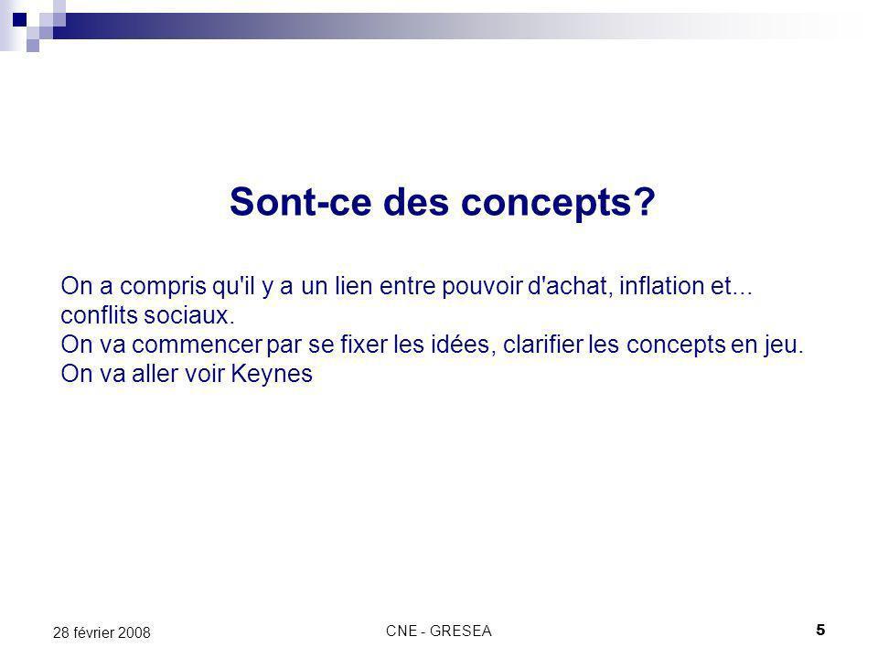 CNE - GRESEA5 28 février 2008 Sont-ce des concepts? On a compris qu'il y a un lien entre pouvoir d'achat, inflation et... conflits sociaux. On va comm