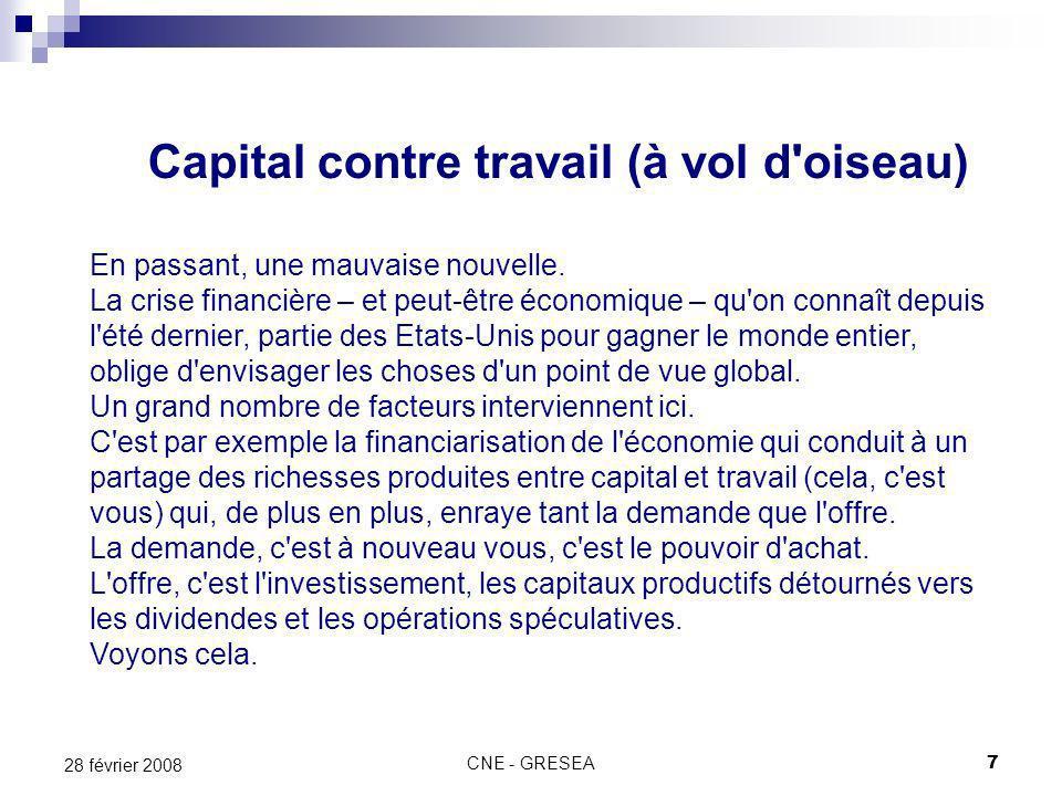 CNE - GRESEA7 28 février 2008 Capital contre travail (à vol d'oiseau) En passant, une mauvaise nouvelle. La crise financière – et peut-être économique