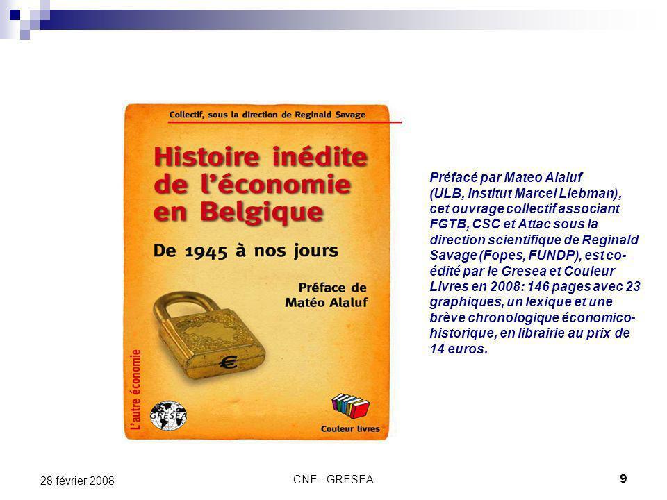 CNE - GRESEA9 28 février 2008 Préfacé par Mateo Alaluf (ULB, Institut Marcel Liebman), cet ouvrage collectif associant FGTB, CSC et Attac sous la dire