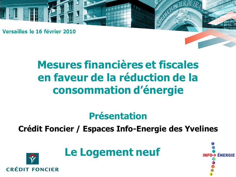 Mesures financières et fiscales en faveur de la réduction de la consommation dénergie Le Logement neuf Versailles le 16 février 2010 Présentation Créd
