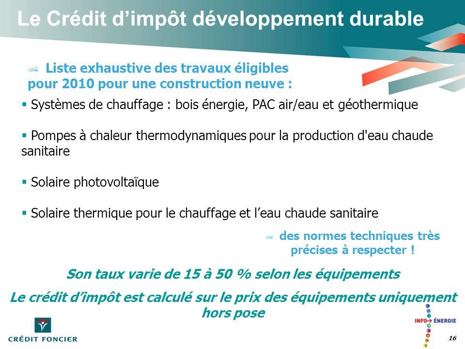 Le Crédit dimpôt développement durable 16 Liste exhaustive des travaux éligibles pour 2010 pour une construction neuve : des normes techniques très pr