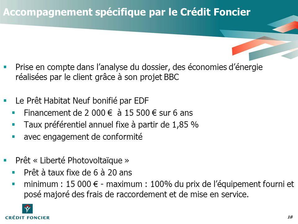 18 Accompagnement spécifique par le Crédit Foncier Prise en compte dans lanalyse du dossier, des économies dénergie réalisées par le client grâce à so