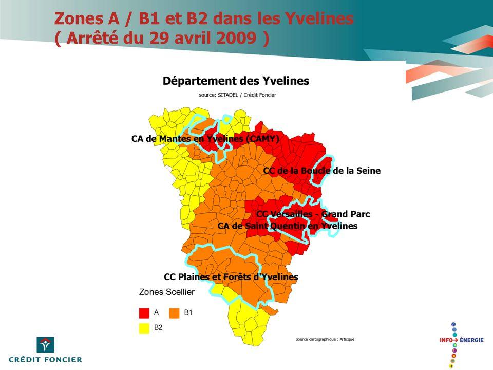 Zones A / B1 et B2 dans les Yvelines ( Arrêté du 29 avril 2009 )