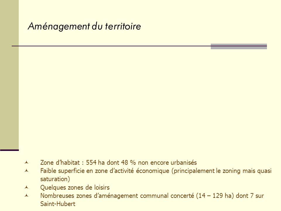 Aménagement du territoire Zone dhabitat : 554 ha dont 48 % non encore urbanisés Faible superficie en zone dactivité économique (principalement le zoning mais quasi saturation) Quelques zones de loisirs Nombreuses zones daménagement communal concerté (14 – 129 ha) dont 7 sur Saint-Hubert