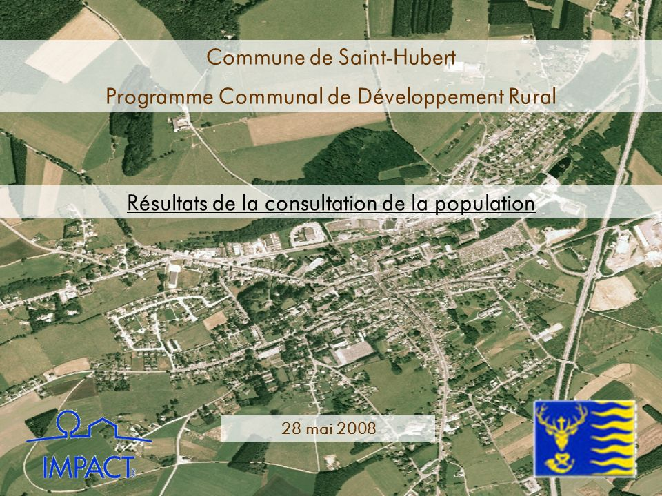 Commune de Saint-Hubert Programme Communal de Développement Rural Résultats de la consultation de la population 28 mai 2008
